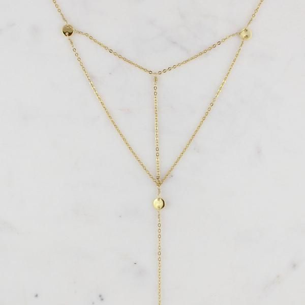 15 inch necklace with triangle detail and gold plated tag. 3 inch drop with…