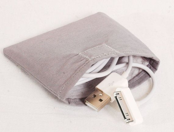 iPod/iPhone Cable Case, bluetooth, earbud, power cord pouch, in Gray  by StitchinCute, $5.00