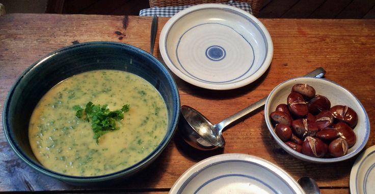 Pastinake,Petersilienwurzel Suppe mit Maronen ,vegetarisch: Petersilien,Pastinakensuppe: 200 gr Kartoffeln schälen , in Würfel schneiden, 300gr Petersilienwurzel,100gr Pastinaken, schälen und würfeln. Wurzeln und Kartoffeln in Öl anschwitzen, 750ml Gemüsebrühe zugeben, 20 Minuten kochen, vom Herd nehmen 2 Bund gewaschene,grobgehackte glatte Petersilie zugeben, unterrühren und alles pürieren,  mit Salz,Peffer und Majoran,Knobi,Chilli würzen Schuß Sahne.