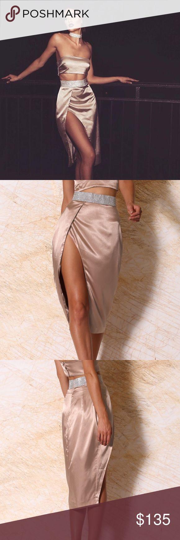MESHKI Boutique Wrap Skirt and Bandeau- Blush MESHKI Boutique Candice Satin Diamond Midi Wrap Skirt and Izumi Satin Panel Bandeau- Blush, Two- Piece set MESHKI Boutique Dresses Midi