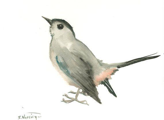 Gray Catbird, original watercolor painting, 8 x 10 in, gray bird art