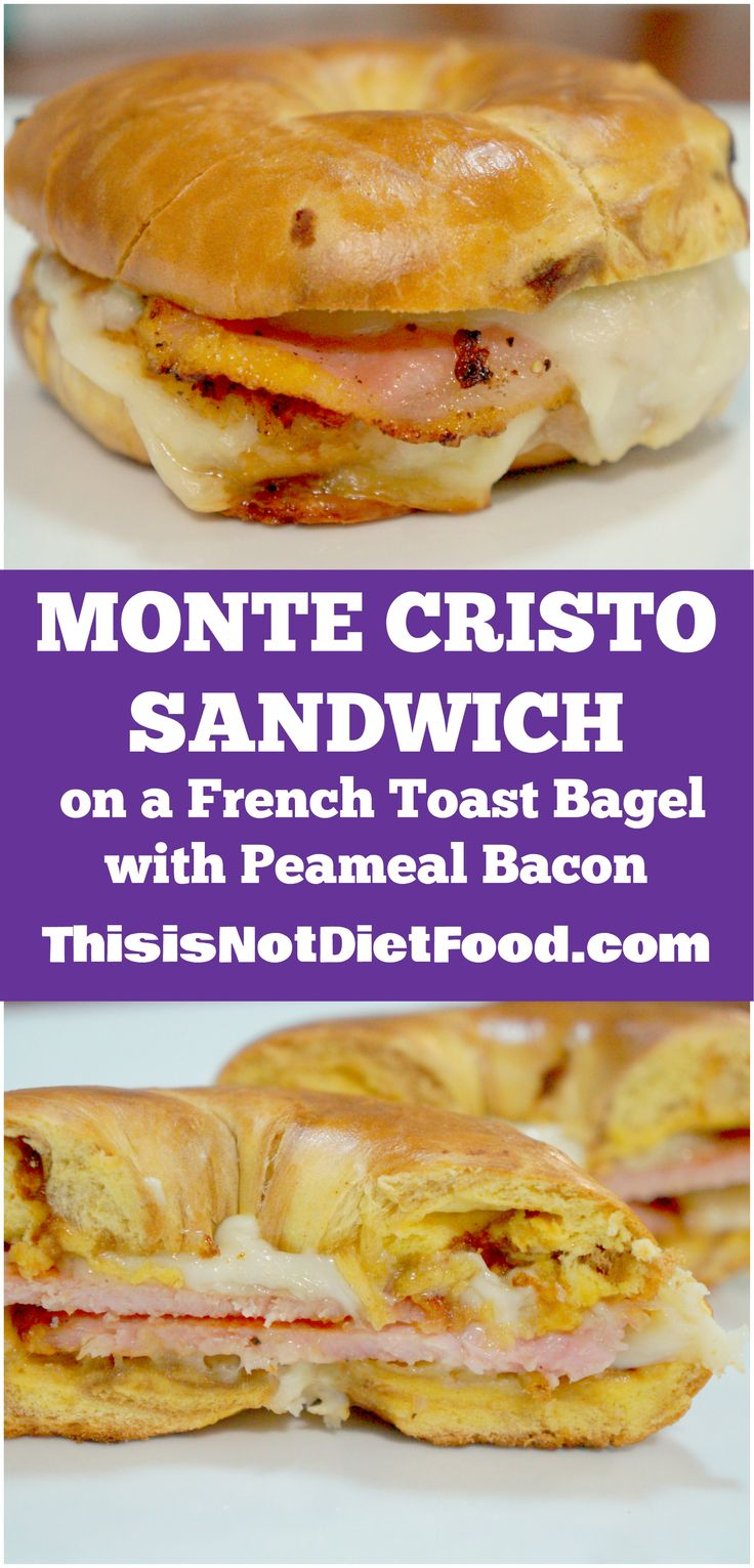 Monte Cristo Sandwich on a French Toast Bagel with Peameal Bacon. Easy sandwich recipe perfect for breakfast or any other meal of the day.