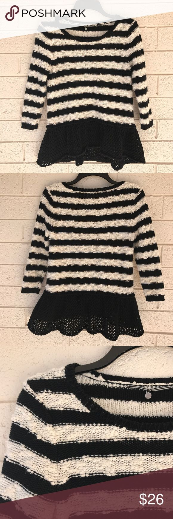 "Anthropologie Knitted & Knotted Striped Sweater Beautiful chunky knit striped sweater from Anthropologie. Features a black peplum skirt and cropped 3/4 sleeves. In great condition, only small flaw is at the top of the ""skirt"" part in the back - there is a little place where the yarn stretched. Not noticeable, but worth pointing out! Size small, fits XS or small. Anthropologie Sweaters Crew & Scoop Necks"