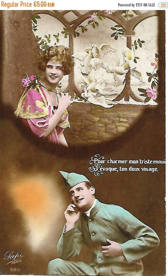 Antique French postcard * Your sweet face Woman in médaillon, Romantic love letter * Collectible colorized photograph early 1920s by ExcusemyFrenchShop on Etsy