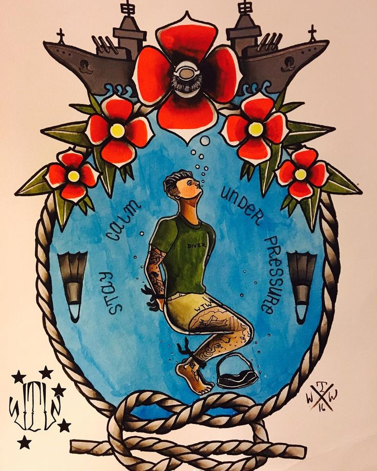 The hardest part about pre-dive is the mental challenge because when youre underwater on a breath hold your body naturally wants air and it triggers your mind into frenzy to to get it so it requires mental strength to overcome that  STAY CALM . #wethewillingcollective #igmilitia #wtw #artwork #artoftheday #art #handpainted #military #veterans #calm #usmc #navy #airforce #army #sf #igmilitia #dive #diving #usa #merica #freedom #tattoo #tattooart #pj #traditional #cct #seal @peterperry8…