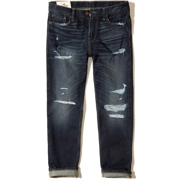 Hollister Vintage Straight Jeans ($19) ❤ liked on Polyvore featuring men's fashion, men's clothing, men's jeans, ripped dark wash, mens straight jeans, mens denim jeans, mens destroyed jeans, mens ripped jeans and mens vintage jeans