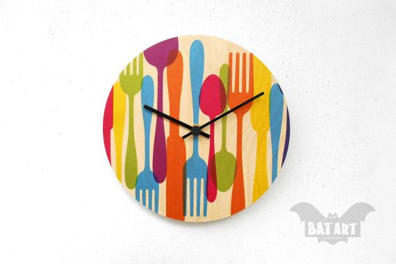 BAT Wall Clock 20cm kitchen utensils  Black metal hands  by BatLab