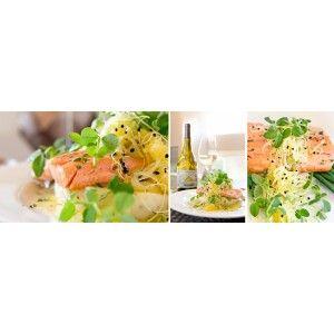 Franschhoek Salmon, mustard mashed potato & orange and fennel salad with Cape of Good Hope Serruria Chardonnay