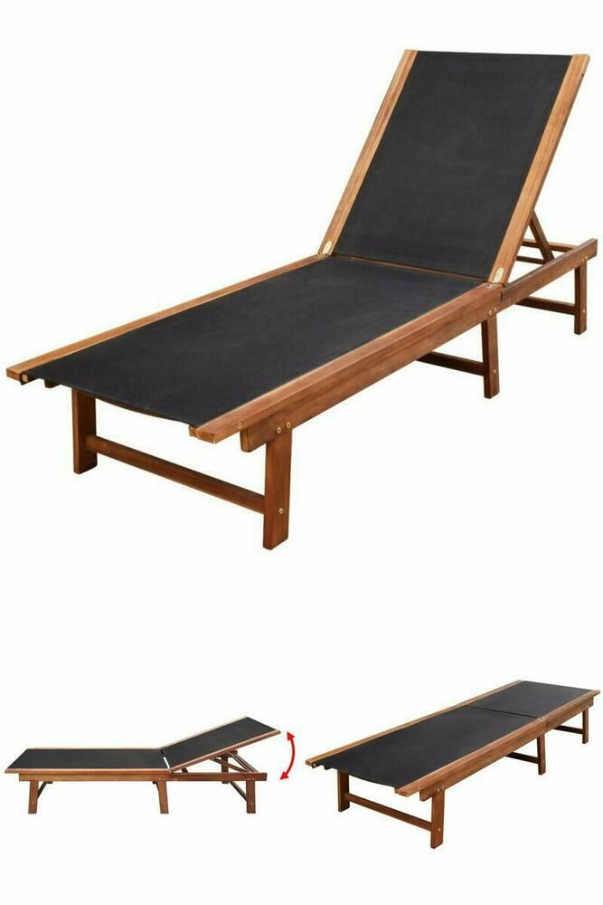 Recliner Wooden Patio Sunbed Outdoor Garden Hotel Pool Sun Lounger
