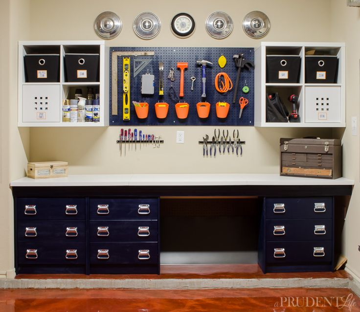Our DIY work bench was put together with IKEA supplies to keep the price low. Using RAST dressers, LINNMON table tops, and KALLAX shelves let us customize the perfect space on a budget. Adding a pegboard creates even more storage without adding much cost.