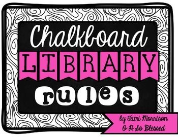 This pack includes 9 classroom library rules on a b&w chalkboard graphic…