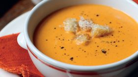 Roasted tomato and mascarpone soup with parmesan croutons - Starters ...