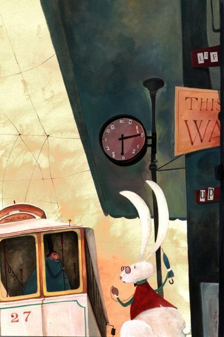 Daniela Volpari Illustration - The White Rabbit in a modern world?  He's late....