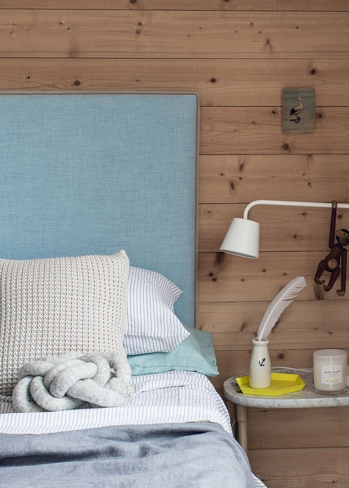 Luxe Belgian linen in ocean tones against a timber wall, gives us those relaxed coastal vibes!