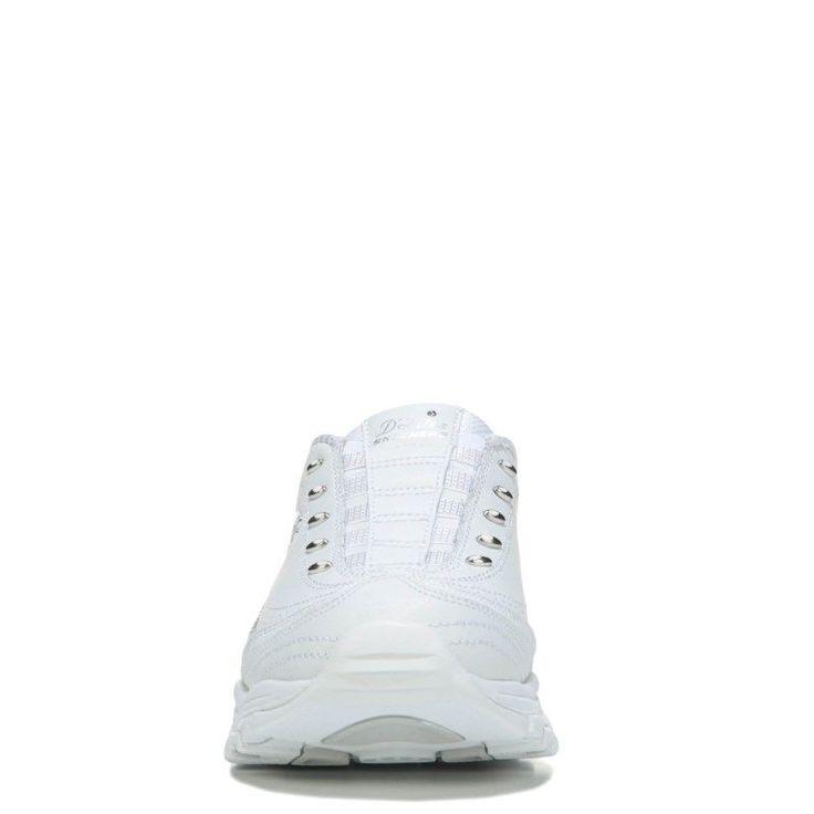 Skechers Women's D'lites Bright Sky Memory Foam Wide Clog Shoes (White/Silver) - 6.5 2W