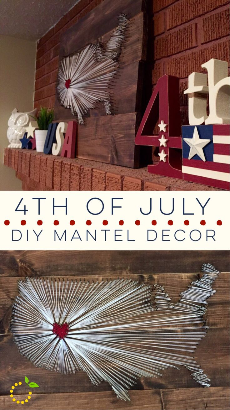 Dust off your mantels because we've got some 4th of July DIY craft ideas to help you decorate for the holiday! #4thofjuly #diy #stringart