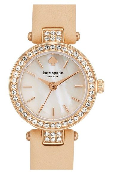 kate+spade+new+york+'tiny+metro'+crystal+bezel+leather+strap+watch,+20mm+available+at+#Nordstrom