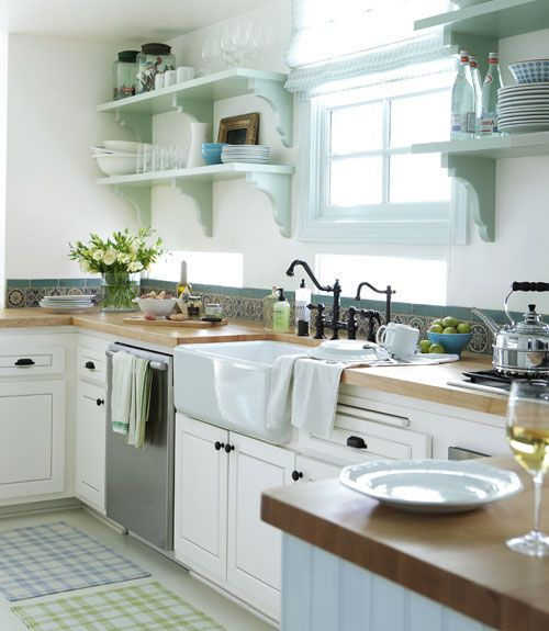 country kitchen: Kitchens, Interior, Open Shelves, Butcher Blocks, House Ideas, Kitchen Ideas, Open Shelving, Farmhouse Sink