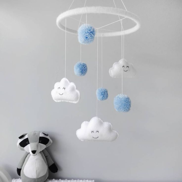 Cloud Mobile With Pom Poms