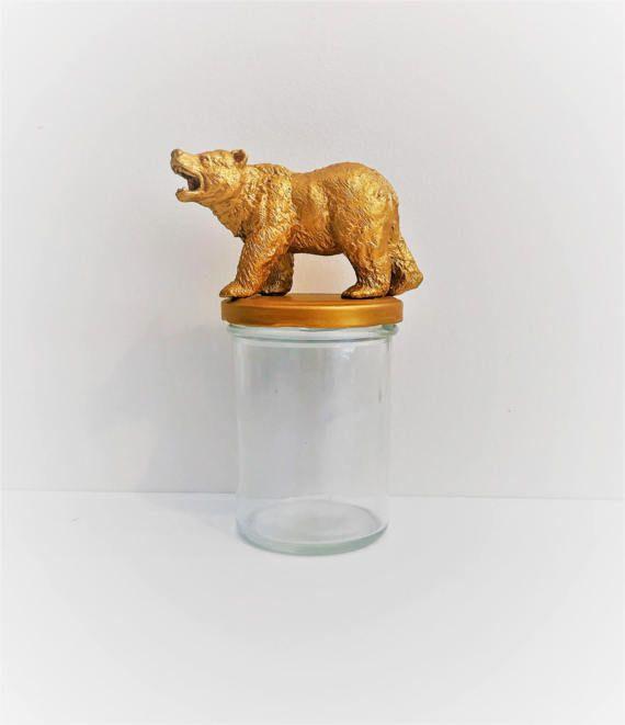 Gold Bear Mason Jar Topper // Home Storage Décor // Mason Jar Storage // Wild Animal // Animal Jar Lid Decoration // Animal Mason Jars