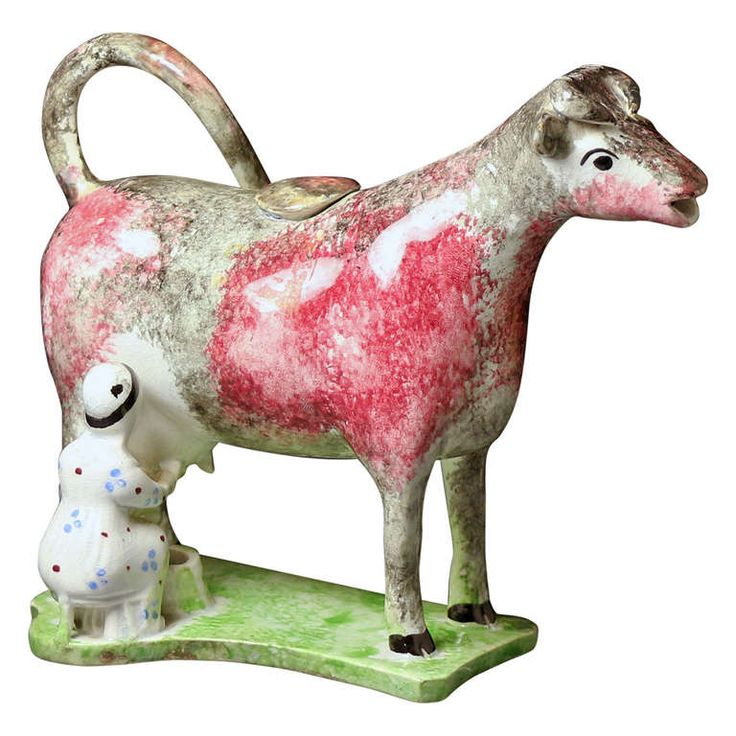 Antique English Pottery Figure in the Form of a Cow Creamer | 1stdibs.com