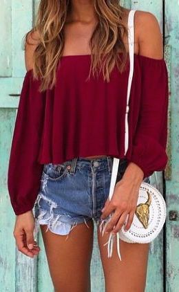#summer #fashion / red off-the-shoulder top + denim short shorts
