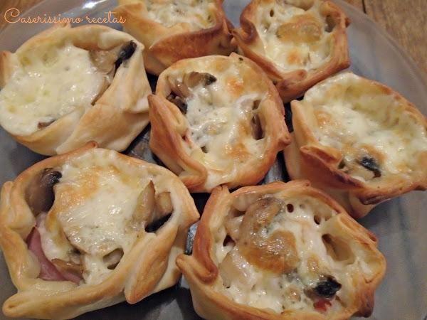 Canastitas de champiñón y queso. Una idea de aperitivo con la que triunfar