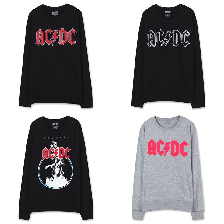 Topten10 Unisex AC/DC Rock n Roll Collaboration Terry Sweat Shirts_4 options…