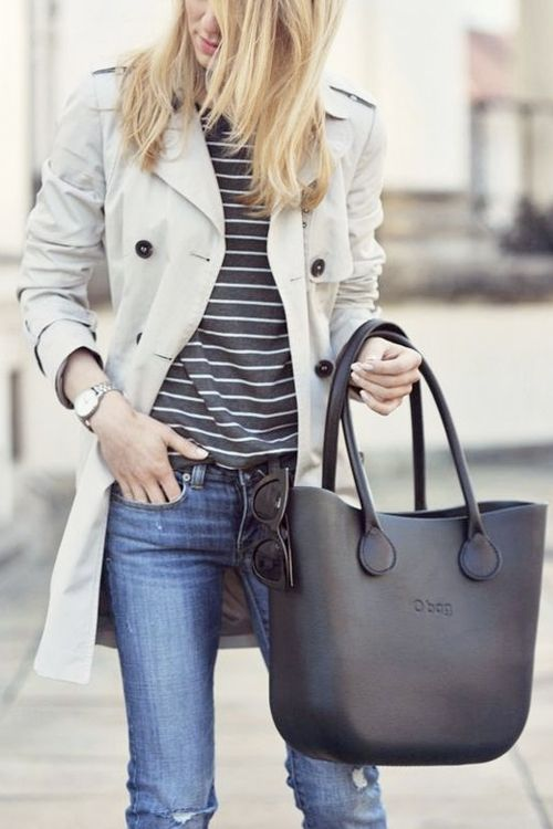 What to Wear This Weekend, Rainy Day Edition: Trench Coat, Striped Top, Black Tote