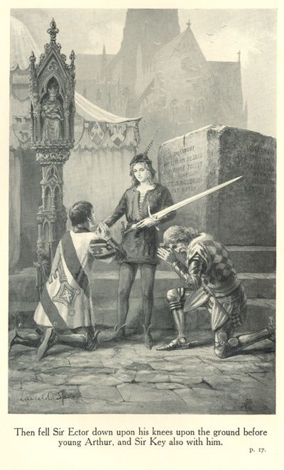 The Legends of King Arthur and His Knights - Then fell Sir Ector down upon his knees upon the ground before young Arthur, and Sir Key also with him