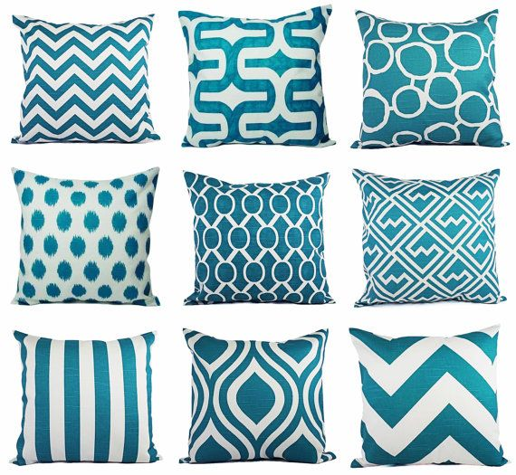 Decorative Throw Pillow Covers - Pick Your Own Set of Two Turquoise and White 18 x 18 Inch Couch Pillow Cushion Cover Accent Pillow on Etsy, $30.00