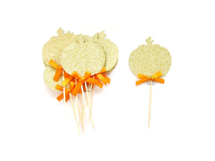 12 Gold Glitter Pumpkin & Orange Bow Cupcake Toppers - fall birthday, baby shower, tea party, little pumpkin party, thanksgiving #babyshowerideas4u #birthdayparty  #babyshowerdecorations  #bridalshower  #bridalshowerideas #babyshowergames #bridalshowergame  #bridalshowerfavors  #bridalshowercakes  #babyshowerfavors  #babyshowercakes