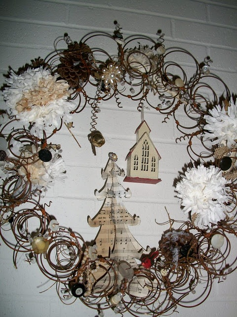 wreath made from old bed springs