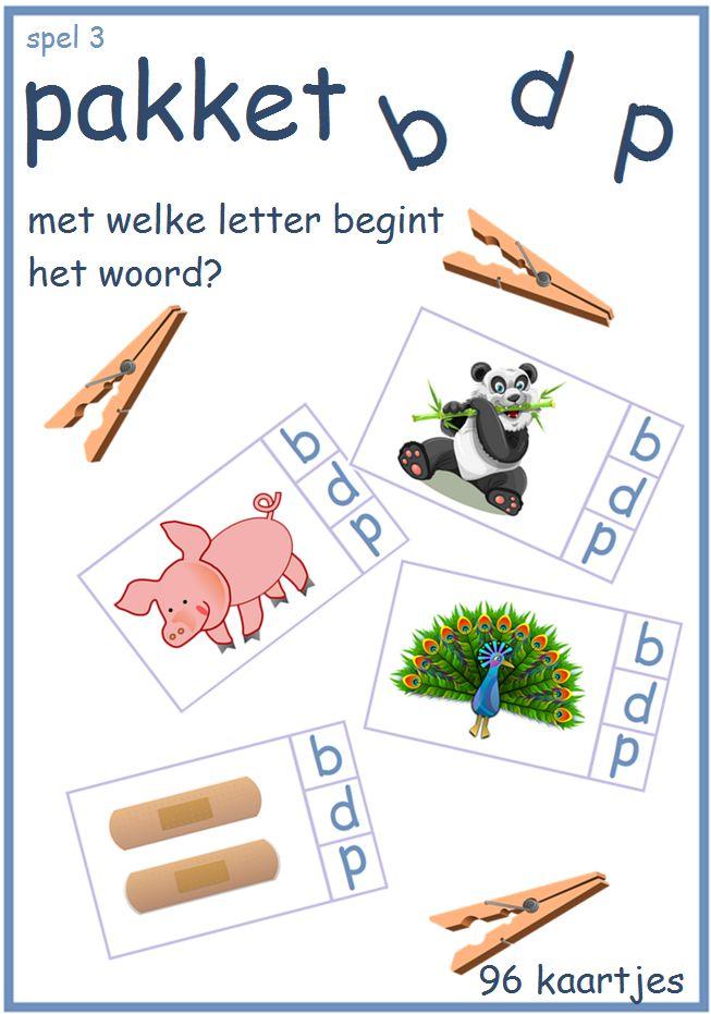 Knijperspel om de letters b,d en p te oefenen