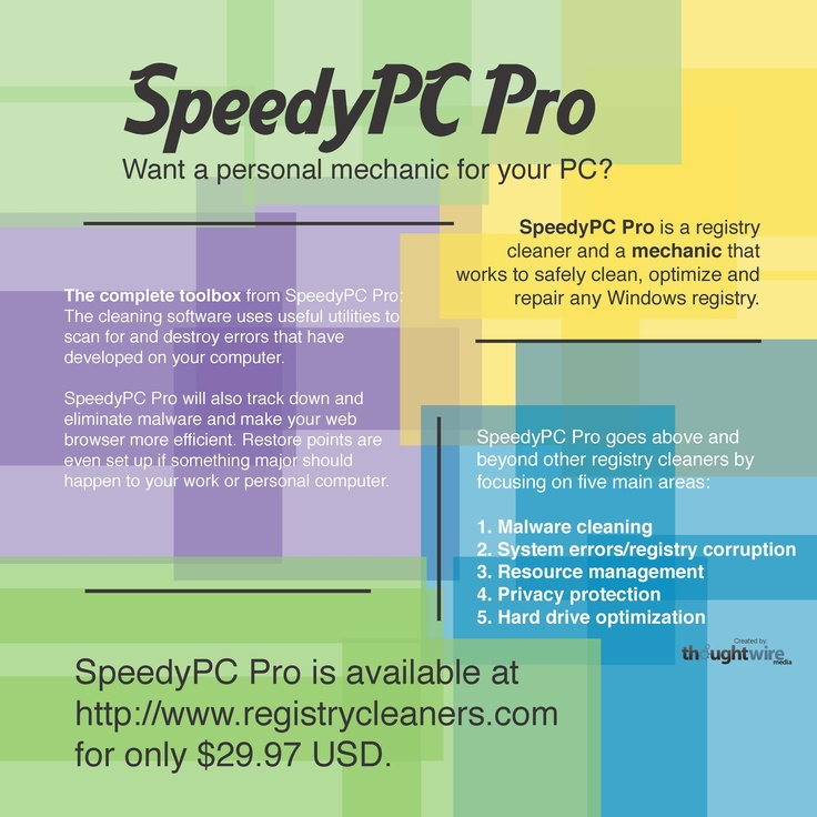 SpeedyPC Pro is a registry cleaner and a mechanic that works to safely clean, optimize and repair any windows registry. Visit http://www.registrycleaners.com/speedypc-pro/