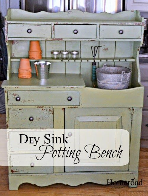 Garden Potting Bench With Sink 118 best potting benches images on pinterest gardening vegetable an old dry sink turned potting bench with an awesome chippy color homeroad workwithnaturefo