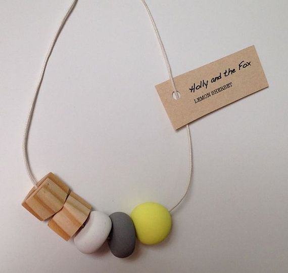 LEMON SHERBET Clay Bead Necklace