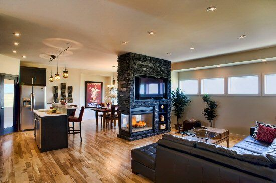 It 39 s about the way the set up the open floor plan with the for Fireplace floor plan