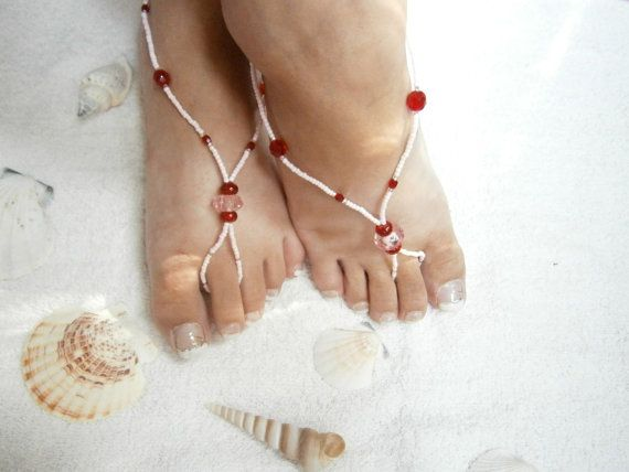 Pink Barefoot Sandals  Beaded  Foot Jewelry by GlamorousSparkle, €15.00