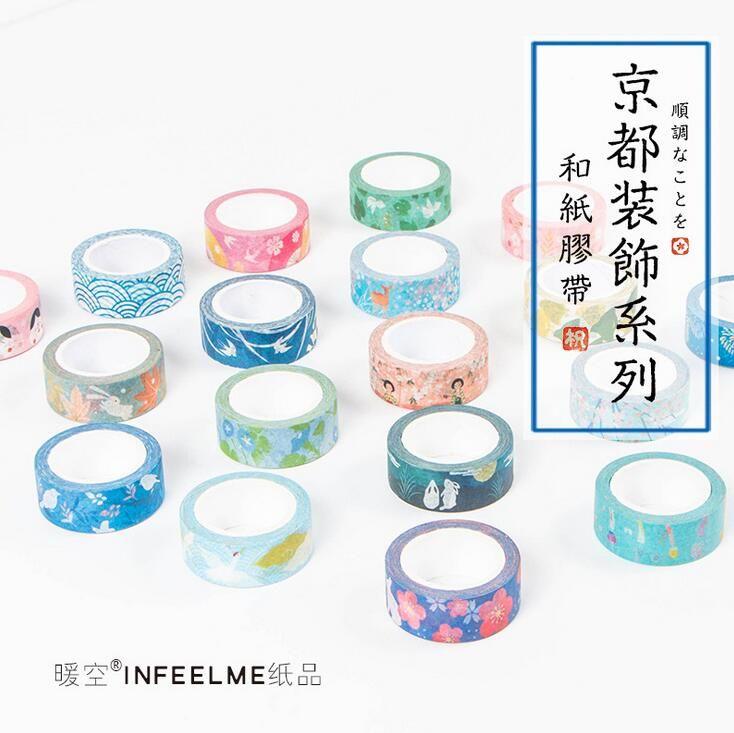 Infeel. Me Kyoto Decoración Del Clavo Japonés Decorativo Cinta Del Washi DIY Scrapbooking Cinta Adhesiva School Office Supply