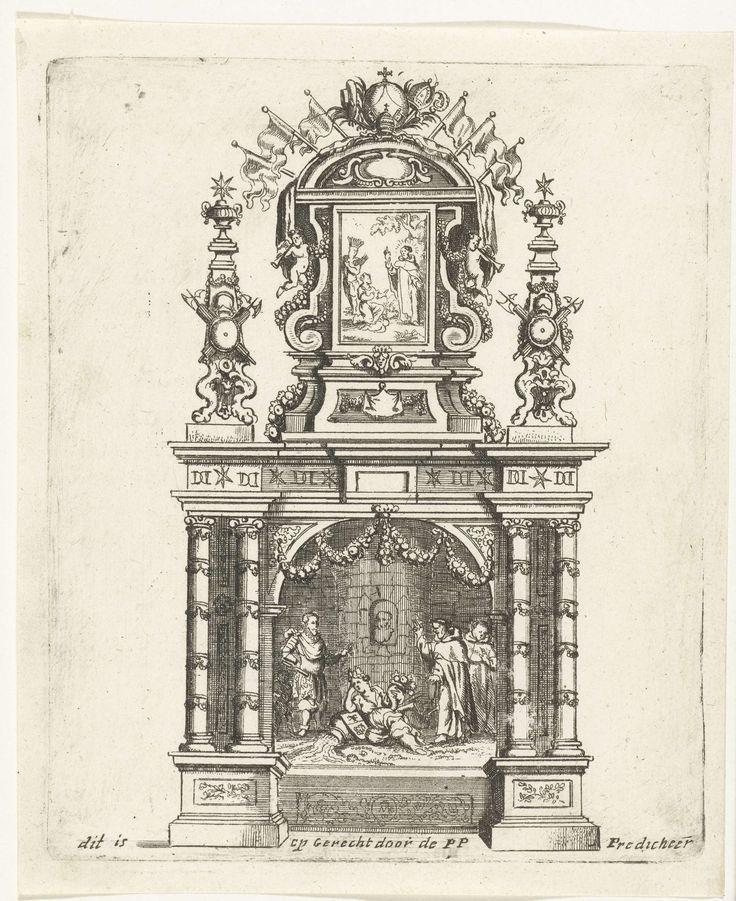 Gaspar Bouttats | Altaar opgericht door de predikheren, 1685, Gaspar Bouttats, 1685 | Altaar opgericht door de predikheren te Antwerpen. Onderdeel van de illustraties van de versieringen opgericht te Antwerpen bij de viering in 1685 van het eeuwfeest van de bevrijding van de stad door de hertog van Parma in 1585.