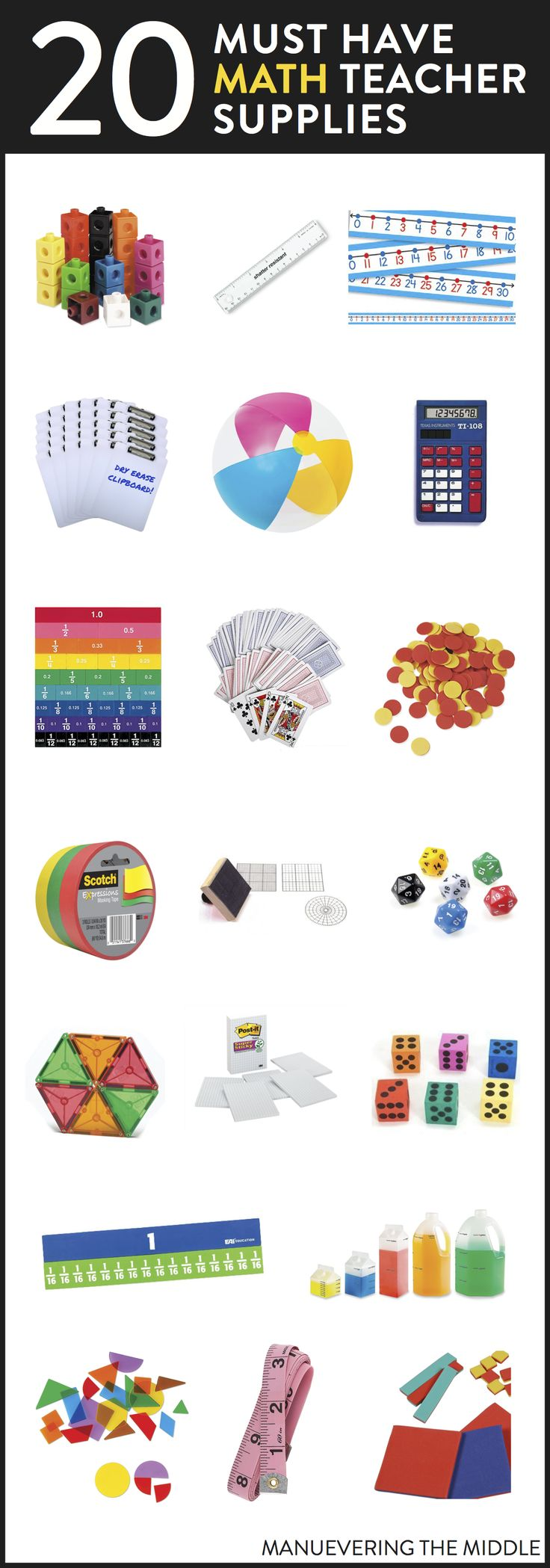 20 Supplies for the math classroom. - Must have math teacher supplies to stock your classroom! | maneuveringthemiddle.com via @maneveringthem