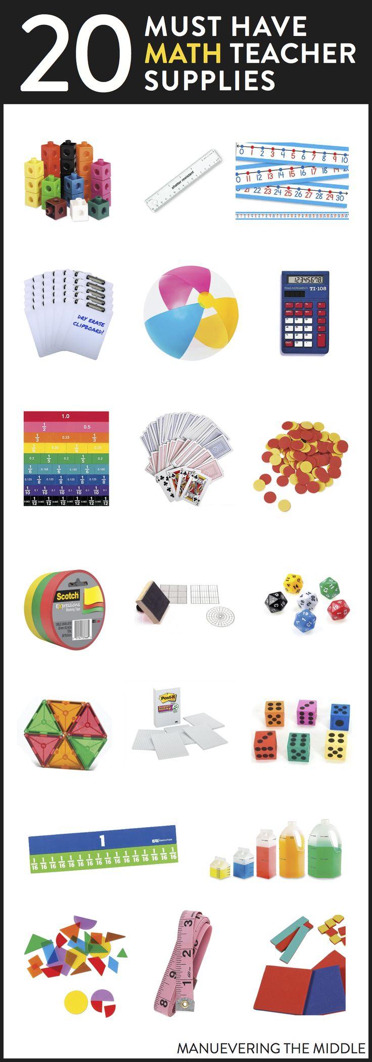 20 Supplies for the math classroom. - Must have math teacher supplies to stock your classroom! | maneuveringthemiddle.com via @maneveringthem