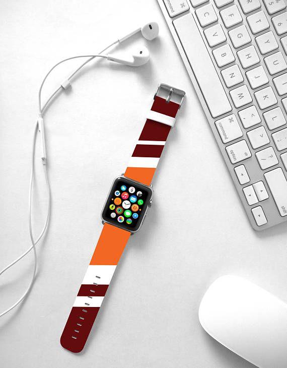 Apple Watch Band 38mm, Apple Watch band 42mm for 1 & 2, Apple Watch Strap genuine Calf Leather Wrist Band University team Stripes band
