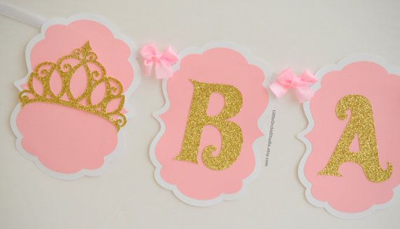 Baby shower banner/ princess banner/ by LittleOrchidStudio on Etsy