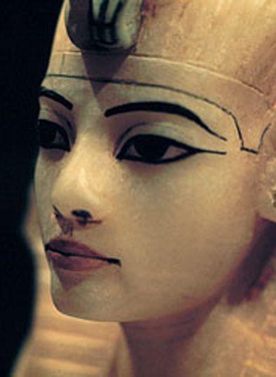 Alabaster King Tut, canopic jar (detail), found in Tut's tomb, Egypt