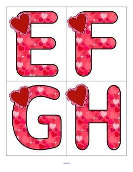 Valentine's Day Theme Large Letters Flashcards FREE