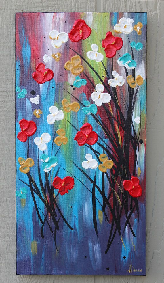 Red Flower Painting flowers white blue van DanlyesPaintings op Etsy