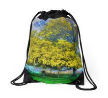 Golden Acacia Wattle Tree in Full Bloom Drawstring Bag