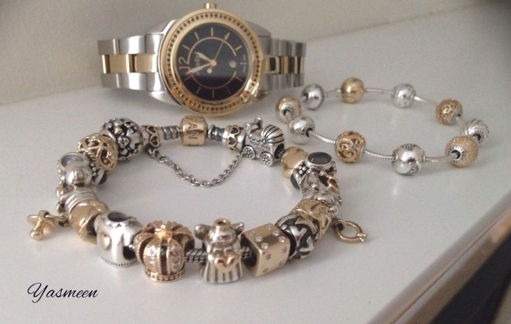PANDORA Gold n Silver Set Featuring Essence Bracelet with Watch and Two Tone Bracelet ♡